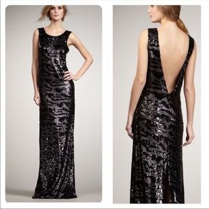 NWOT Rachel Zoe Isabella Sequined Gown Black M